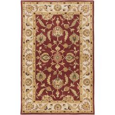 Oxford Isabelle Red and Beige Rectangular: 4 Ft x 6 Ft Rug - (In Rectangular)