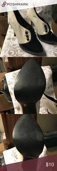 Black and white zip up heels Charlotte Russe black and white zip up heels have wear not sure if it can be cleaned. Size 7. Bundle 3 or more to save 10%! Make me an offer!! Charlotte Russe Shoes Heels