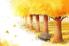 풍경, 배경, 백그라운드, 계절, 자연, 낙엽, 나무, 일러스트, #freegine, 가을, illust, 공원, 단풍, 은행나무, 가을배경…