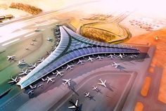 Foster + Partners Unveil Plans for Solar-Powered LEED Gold Kuwait International Airport foster and partners kuwait airport – Inhabitat - Green Design, Innovation, Architecture, Green Building Amazing Architecture, Architecture Design, Vintage Architecture, Timber Architecture, Facade Design, Roof Design, Futuristic Architecture, Sustainable Architecture, Green Initiatives