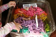 When X was quite small, S and I decided to make some rainbow spaghetti.  To ...