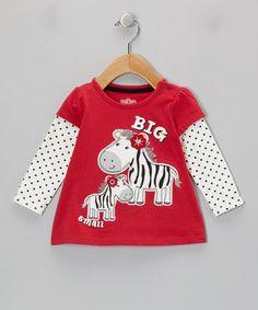 Look at this #zulilyfind! Red 'Big & Small' Zebra Layered Tee - Infant #zulilyfinds