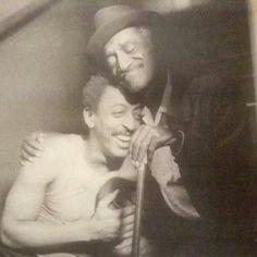 Dance legends, Gregory Hines & Sammy Davis Jr expressing endearment toward one another.