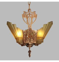 Boldly Deco 3-Light Chandelier w/Amber Shades, c1930