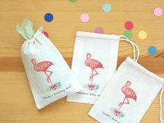 Pink Flamingo Party Favor Bags for Tropical Birthday, Bridal Shower, Baby Shower, and Bachelorette Party and Wedding, Hawaiian Luau Decor