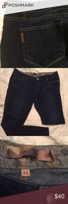 Paige Skyline Skinny Jeans Paige Premium Denim jeans. Very gently worn. 70% cotton, 30% poly. Floral waist lining. Dark wash. Very soft! Signature Paige pocket accents. Size 33 (14/16). Paige Jeans Jeans Skinny