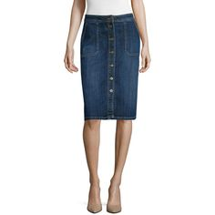 Liz Claiborne Denim Skirt ($37) ❤ liked on Polyvore featuring skirts, liz claiborne, blue slip, knee length a line skirt, a-line skirt and a line slip