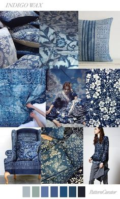 Indigo is looking like a key colour for It was mentioned in detail when Pantone revealed their 2018 home+interiors palette, and Pattern Curator is touting its strong influence during the Spring and Summer Pattern Curator, Color Patterns, Print Patterns, Design Patterns, Fashion Trends 2018, Deco Champetre, Color Trends 2018, Design Trends 2018, Bleu Indigo