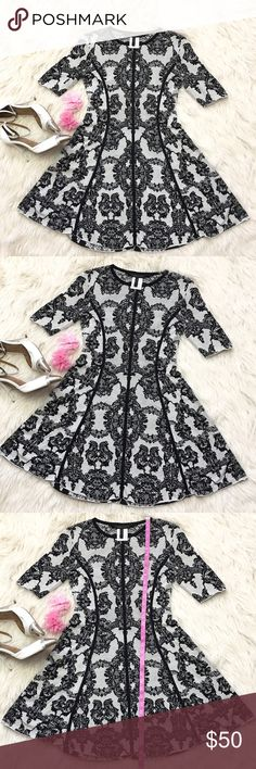 BCBG lace fit & flace knit silk dress Small EUC no rips or stains, 2 pull thread but nothing major, white light knitted dress with black lace .70% silk 30% cotton, BCBGMaxAzria Dresses Mini
