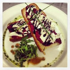 Goats Cheese Bruschetta delicious with a glass of Chianti at #ilVicoloCafe Galway