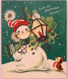 #1671 50s Snowman w/ Lantern & Bird-Vintage Christmas Card-Greeting