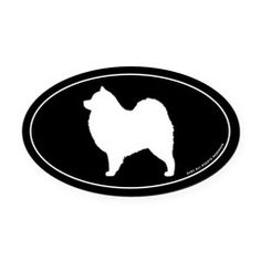 Samoyed Silhouette Oval Car Magnet