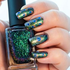 Peacock nails using ILNP sirene and supernova. Stamped with kleancolor jazz olive, and the plate was Emily de molly Feather Nail Designs, Feather Nails, Gel Nail Designs, Cute Nail Designs, Fancy Nails, Cute Nails, Pretty Nails, Gold Nails, Fabulous Nails