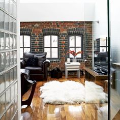 Exposed brick lofty living