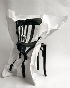 Black & White Photography Inspiration : Philippe Soussan Chaise I 2010 Sculpture Art, Sculptures, Photo Sculpture, Chair Drawing, Wow Art, Art Graphique, Grafik Design, Art Plastique, Installation Art