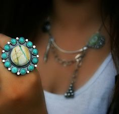 Your Soul's Flower -Turquoise Sterling Silver Cluster Ring