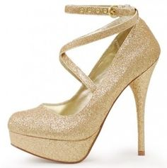Gorgeous Gold Glitter Mary Jane Pumps  - exactly how many pairs of gold glitter shoes are too many? These are divine!