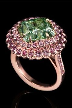 Pink Diamond Ring and Leviev Fancy Green #Pink #Diamond #Rings