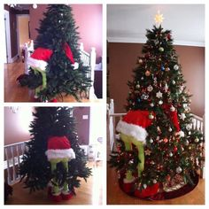 """GRINCH CHRISTMAS TREE – """"Made from two dowels for his legs, blocks of wood for the feet, stuffing, green leggings, elf slippers and a tree skirt with a white scarf around the edge along with a Santa hat :) we wanted him to look like he's ready to steal the tree """" – Ashlee Burridge …"""