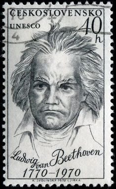 Ludwig van Beethoven German composer and pianist, designed by Czech artist Karel Svolinsky and issued on February 1970 to celebrate the centenary of Beethoven's birth, Stamp Auctions, Postage Stamp Collection, First Day Covers, Picture Postcards, Vintage Type, Stamp Collecting, Hand Engraving, Classical Music, Postage Stamps