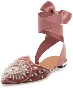 f0a17bfd8 Aquazzura Stellar Embellished Velvet Ankle-Wrap Flat