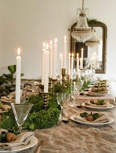 Vintage House - Kale, brussel sprouts, pine, and walnuts with brass candelsticks on the table Thanksgiving Table Settings, Christmas Table Settings, Christmas Tablescapes, Christmas Table Decorations, Christmas Candles, Holiday Tables, Decoration Table, Thanksgiving Centerpieces, Tree Decorations