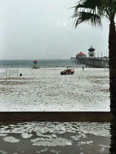 White sand of Huntington Beach is due to the storm that came thru in 2015