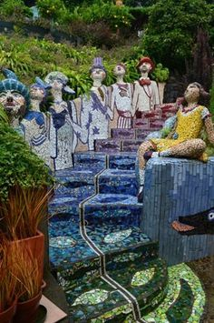 Akaroa Giant's House-mosaic people in Akaroa New Zealand MOSAIC TILE IDEAS : : More At FOSTERGINGER @ Pinterest