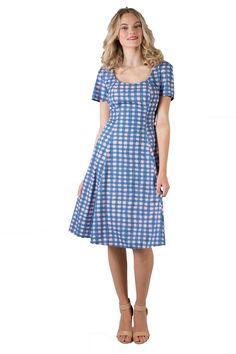 Virginia Vera   Annah Stretton   Designer Day Dresses   Annah Stretton Short Sleeves, Short Sleeve Dresses, Rose Buds, Body Shapes, Day Dresses, Virginia, Scoop Neck, Feminine, Fabric