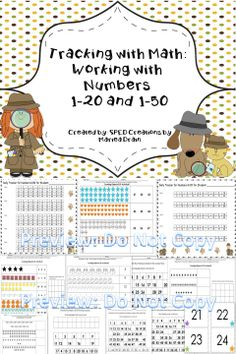 Activities for number recognition and counting objects  1-20 and 1-50