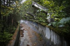 The broken down bobsled track at Mount Trebevic