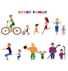 Set of people, parents and kids, doing sport activities together - cycling, running Sport Man, Sport Girl, Sport Craft, Senior Home Care, Goals And Objectives, Diabetic Dog, Sports Activities, Sport Quotes, Healthy People 2020 Goals