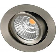 Tekniske spesifikasjoner: Lysfarge: 2700K Fatning: LED modul Lumens: 720 RA Index: 90 IP grad: IP 44 Dimbar til 2%  Hullmål: 83 mm Diameter: 94 mm  Spredning: 35 grader  Farge: Børstet stål Spenning: 230V   OBS! Det er ikke mulig å bytte pære, da produktet har en LED modul