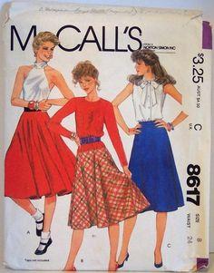 Vintage McCalls 8617 Full Circular Bias Skirt Pattern Rockabilly 50s style size 8 waist 24