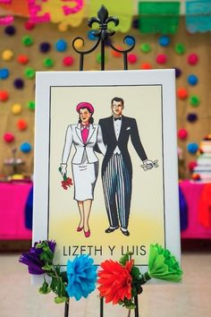 Cinco de Mayo Mexican fiesta wedding loteria card designed by The Goodness
