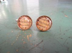MAP of ORLANDO CUFFLINKS or customize (perfect for hubby, son, groom, or wedding party gifts) 15 mm Silver Plated or Create your own