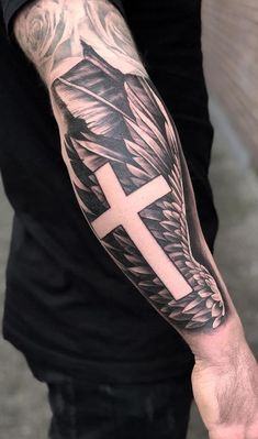 Religious Tattoos: Check out the 80 best inspirations - I love tattoos - Religious Tattoos: Check out the 80 best inspirations – I love tattoos - Cross Shoulder Tattoos, Cross Tattoo On Wrist, Celtic Cross Tattoos, Forarm Tattoos, Cross Tattoo For Men, Cross Tattoo Designs, Cool Forearm Tattoos, Badass Tattoos, Religious Tattoo Sleeves
