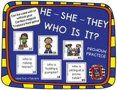 NOTE: Do not purchase this product if you own our CARIBOO COMPANION LANGUAGE BUNDLE (Growing Bundle).  This item is included in the bundle.  Download the bundle again for this free update.These materials were designed for use with or without your Cariboo Magical Treasure Hunt Game to teach comprehension and expression of  He, She, and They. $1.50