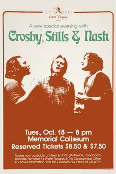 Crosby, Stills & Nash concert poster Tour Posters, Band Posters, Music Posters, Music Flyer, Music Icon, Norman Rockwell, Pin Ups Vintage, Rock And Roll History, Monet