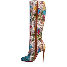 Fishnut 100 Multi/Cuoio Rete/Guipure Butterfly - Women Shoes -... ($1,295) ❤ liked on Polyvore featuring shoes, boots, butterfly boots, knee high boots, knee boots, christian louboutin knee high boots and side zip boots