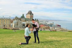 He popped the question with their dog in front of a modern-day castle in Quebec! Such a sweet love story.