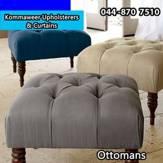 Ottomans come in all shapes and sizes. If you have your own ideas on what kind of ottomans you would like, come to Kommaweer and we will make them for you. #upholstery #ottomans #homeimprovement