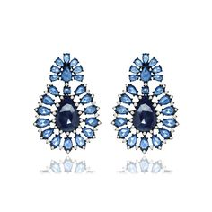 Sutra Sapphire Diamond Earrings ($16,200) ❤ liked on Polyvore featuring jewelry, earrings, sapphire jewellery, sapphire diamond earrings, sapphire earrings, diamond jewellery and earring jewelry