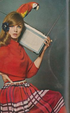 Jean Shrimpton & parrot listening to some groovy 60's tunes