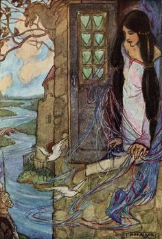 The Lady of Shalott, Florence Harrison -- I do not think I have seen this one before.