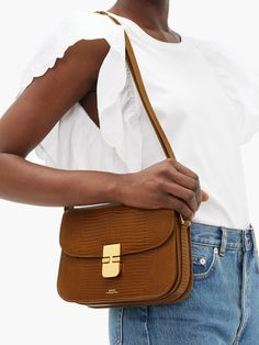 Grace lizard-effect leather shoulder bag Apc Bag, Leather Shoulder Bag, Shoulder Strap, Birthday Wishlist, T Shirt And Jeans, Cute Bags, Gold Hardware, Shopping, Photography Bags