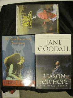 Jane Goodall's Wild Chimpanzees DVD + 2 Books: Reason Hope & Dian Fossey Romance