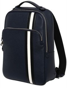 BALLY PEBBLED LEATHER BACKPACK WITH STRIPES