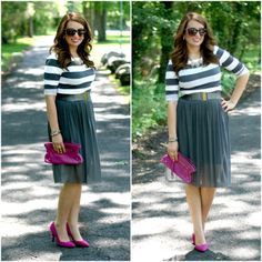 Tulle skirt, striped top