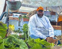 """Cabbage man, 24x30"""" oil on canvas"""